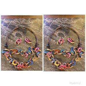 Multicolored wooded necklace and earring set